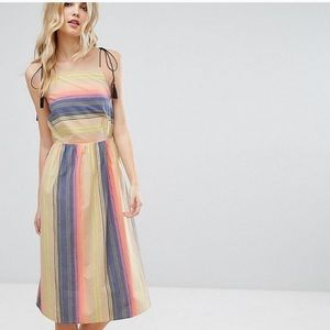 Asos Striped Tassel Tie Dress